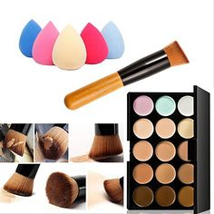 Mefeir 15 Colors Professional Concealer Camouflage Makeup Palette Contour Face Contouring Kit Oblique Head Contour Makeup Brush with Free Makeup Sponge Blender Water Drop Color Random * To view further for this item, visit the image link. Face Contouring, Contour Makeup, Eyeshadow Makeup, Makeup Brushes, Contour Face, Contour Set, Contour Brush, Concealer Brush, Mac Makeup