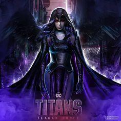 Female Superheroes And Villains, Dc Comics Superheroes, Raven Superhero, Titans Tv Series, Raven Teen Titans Go, Starfire And Raven, Robin And Raven, Talia Al Ghul, Arte Dc Comics