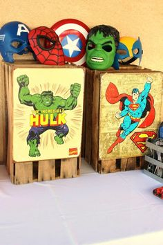 Vintage Superhero themed birthday party with SUPER AWESOME IDEAS via Kara's Party Ideas.  I love the vintage signs - we could put these up in the boys' room afterwards!
