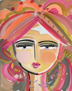 "Warrior Girl PRINT on paper or canvas woman art impressionist modern abstract girl ""Babe"" Abstract Face Art, Abstract Portrait, Art Original, Original Paintings, Frida Art, Canvas Art, Canvas Prints, Guache, Warrior Girl"