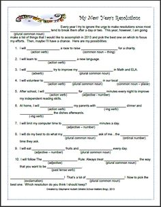 My New Year's Resolutions - A Mad Libs style parts of speech review, this freebie is sure to be a fun way to start 2013 in the classroom.  The link to this freebie is a blog post that also contains lots of great classroom management tips and ideas with resources to go along with them as well.