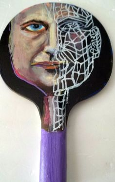 Gail Grant Folk Art outsider cubism painting original sign WOOD PADDLE portrait #OutsiderArt