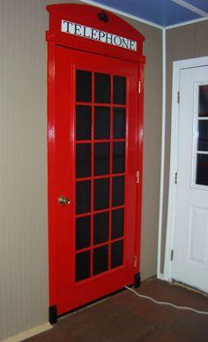 British phone box door in house