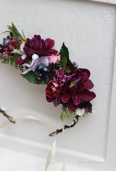 Purple flower crown Floral crown Wedding hair wreath Bridal