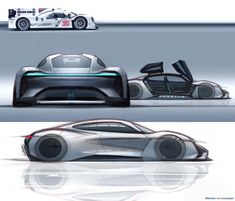 Porsche Mission E sketches by exterior designer Emiel Burki ~ Concept Cars Car Design Sketch, Car Sketch, Porsche Mission E, Porche 911, Mexico 2018, Automobile, Futuristic Cars, Porsche Cars, Car Drawings