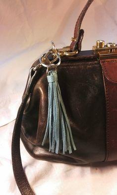 Blue Leather tassel keyring fob key tassel bag by Tiddleyworks