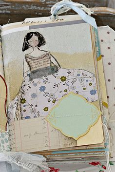Journal idea.  Her journals are so beautiful.  Full of vintage ledgers, postcards, patterns, mail and more.