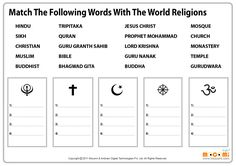 World Religion Worksheet - General Knowledge For Kids. For more general knowledge facts for kids, visit: http://mocomi.com/learn/general-knowledge/