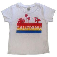 Sol Baby California 4 color Stripe White Tee-12m-White. Sol Baby original design. Retro-inspired 4-Color Calfornia beach image. Professionally printed locally. Boutique quality white crew neck tee. 60% cotton/40% Poly.