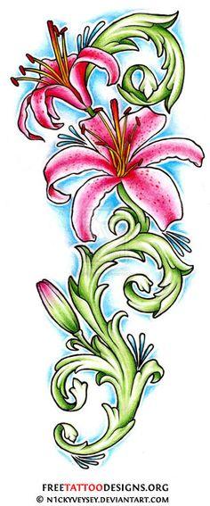 Stargazer lilly tattoo design