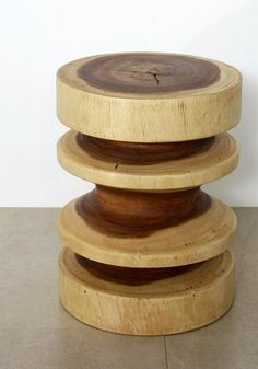 """Round Zig Zag Stool Stand or End Table  14"""" Diameter x 18"""" Tall Clear Oil Finish"""