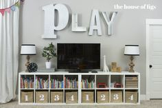 Playroom // The House of Figs, playroom with IKEA shelves