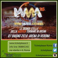 """Acquista ora il tuo biglietto """" Wind Music Awards 2016 """" info line: 068841342 www.ticketplease.it mail: info@ticketplease.it La nostra sede: via Viterbo n.6, Roma. Spediamo in tutta Italia con Bartolini.ù La data: 7 giugno Verona, Arena  Tornano i Wind Music Awards!   #WMA16 #ARENAVERONA #WindMusicAwards #MUSICA  @WMAufficiale"""