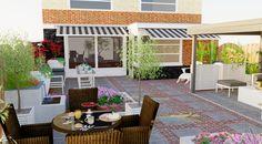 3D tuinontwerp voorbeeld achtertuin in Oudhollandse stijl. Gebakken waalformaat afgewisseld met grote tegels geven de tuin een klassieke uitstraling.