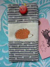 Handmade Sun Glasses Case Cover Pouch Padded Hedgehog Blue Daisy Stripe Linen