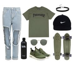 """""""Thrasher x Nike"""" by baludna ❤ liked on Polyvore featuring WearAll, Ray-Ban and NIKE"""