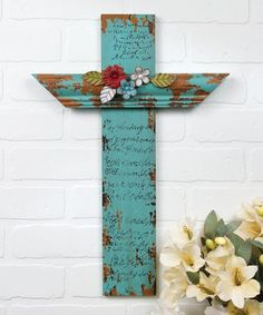 This Weathered Floral Cross is perfect! #zulilyfinds