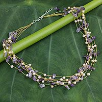 Cultured pearl and amethyst beaded necklace, 'Afternoon Lilac' by NOVICA