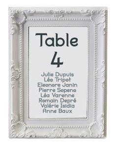 Le Marque Table Cadre Baroque Moulures Blanches | Nos Cadeaux de Remerciement pour vos Invités | Mariage.