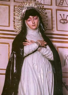 The statue of Our Lady of Solitude of the Brotherhood of the Holy Burial in Granada, Spain.