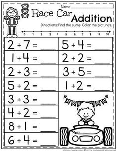 Addition worksheets for preschool and kindergarten, including adding using pictures or objects, single digit addition (horizontal and vertical), addition math facts, composing and . These free worksheets focus on basic addition skills. Free Kindergarten Worksheets, Math Activities, Free Worksheets, Printable Worksheets, Free Printable, Addition Worksheets First Grade, Math Sheets, Math For Kids, Math Facts