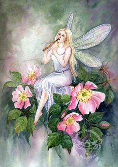 Dog Rose by JannaFairyArt on DeviantArt * Fairy Myth Mythical Mystical Legend Elf Faerie Fae Wings Fantasy Elves Faries Sprite Nymph Pixie Faeries Hadas Enchantment Forest Whimsical Whimsy Mischievous