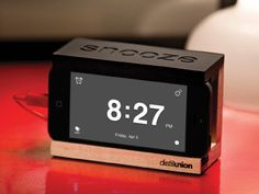 iPhone dock clock by Distil Union, discovered by The Grommet. The iPhone alarm dock with a slap-happy snooze bar.