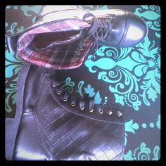 Lace up Combat Boots Lace up Combat Boots. The inside is lined with traditional Black & Red flannel that is Super soft. Shoes Combat & Moto Boots