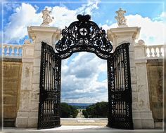Gate to the baroque garden of Schlosshof Castle, Austria. Prince Eugene's coat of arms can be seen on either side. Archduke, Wide World, Central Europe, Coat Of Arms, Tower Bridge, Austria, Landscape Design, Gate, Empire