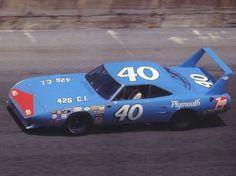 1970 Plymouth Road Runner Superbird NASCAR Race Car 1 at Speed Pete Hamilton Driving Petty Enterprise Blue sv