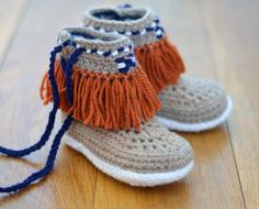 Crochet Pattern Children's Slippers Moccasin Fringe Boots Kids Sizes Instant Download Children's  Slipper Pattern