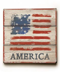 Lend a rustic atmosphere to a space with this wall art showing off a fashionably weathered Americana graphic. Shipping note: This item is made for zulily. Allow extra time for your special find to ship. American Flag Crafts, American Flag Wall Art, Rustic, Ship, Note, Space, Country Primitive, Floor Space, Retro