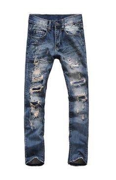 Myncoo Men's Casual Distressed Holes Long Slim Jeans Denim Blue(34,Blue)