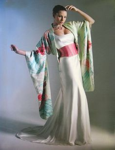 silk satin gown with kimono-sleeved bolero and wide satin sash belt,