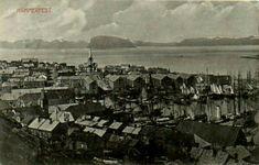 Finnmark fylke Hammerfest oversikt over byen og fjorden Utg A. Kalland 1910