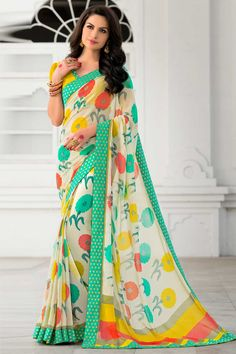 Cream Georgette Saree With Georgette Blouse  Price:$ 59.07 Cream, georgette Printed saree with yellow, georgette blouse. Embellished with embroidery. Saree with Fancy Pallu and Lace Border ,U Neck Blouse, Short Sleeve Blouse. It comes with unstitch blouse, it can be stitched to 34,36,38,40 sizes.  http://www.andaazfashion.com/womens/sarees/cream-georgette-saree-with-georgette-blouse-dmv9173.html