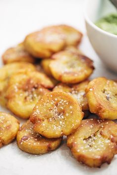 Crispy Salted Tostones - super easy recipe with just one ingredient: PLANTAINS! video demo in the post. vegetarian / vegan. | pinchofyum.com