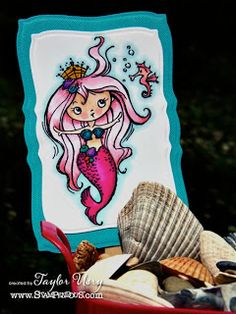 The Quiet Moments: Stampendous Saturday: Pink Mermaid @Stampendous Stamps Stamps @SpectrumNoir