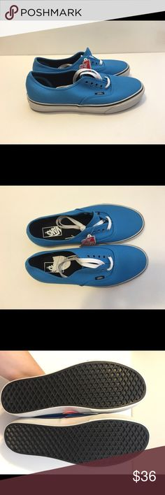 "New Vans in Malibu Blue Size 11 New pair of Vans Authentic style shoes in a women's size 11 ( 9 1/2 in men). The color is ""Malibu Blue"".   Please comment if you have any questions.  Offers are always considered. Thanks  Vans Shoes Sneakers"