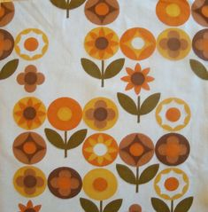 Vintage Mod Flowers Cotton Fabric 2 pieces by lisajane3 on Etsy