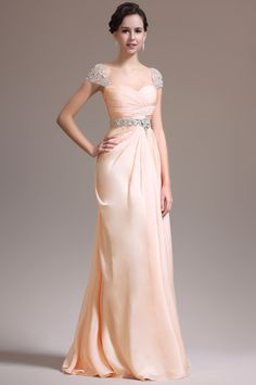 Blush with illusion cap sleeves