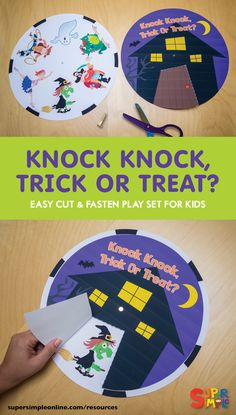 Knock Knock, Trick Or Treat? Halloween Stories For Kids, Fun Halloween Games, Halloween Arts And Crafts, Halloween Activities For Kids, Halloween Books, Halloween Kostüm, Halloween Themes, Halloween Costumes, Trick Or Treat Song