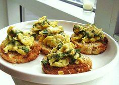 Herb Scrambled Egg Crostini