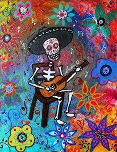 Guitar Player Dia de los Muertos Painting  auction ending today!  visit pristineturkus.blogspot.com for new original paintings for sale