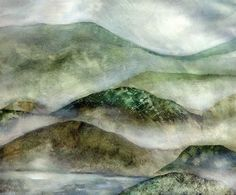 Misty mountain landscape stencil technique  - Dunstige Berglandschaft, S...