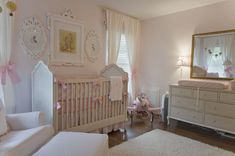 Vintage-inspired Pink Nursery - love the mix of classic and vintage accents in this room!