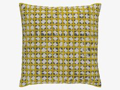 GRIDDY Cotton blend Yellow and grey patterned cushion 45 x 45cm - HabitatUK