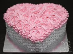 Chocolate cake with fresh cream. Basket weave and rosette.