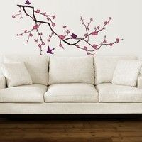 Wall Decals and Vinyl Wall Art -- Cherry Blossom Branch Decal