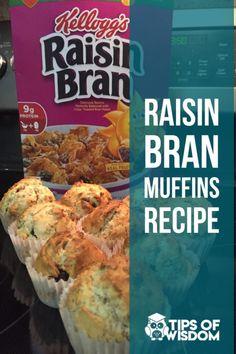 Healthy Breakfast Muffins, Breakfast Cereal, Breakfast Ideas, Breakfast Recipes, Breakfast Biscuits, Breakfast Dessert, Healthy Breakfasts, Raisen Bran Muffins, Bran Muffins With Raisins